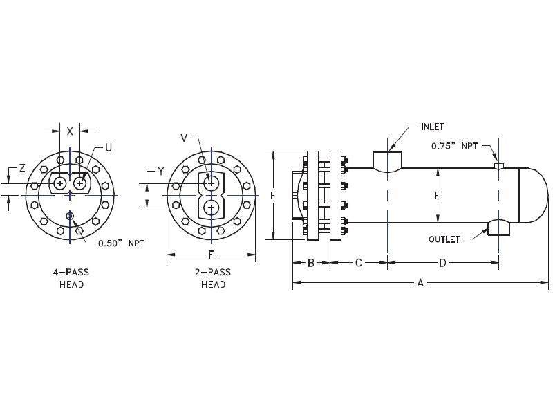 Picture of DS12364B-BH-150/150 , DOUBLE WALL STEAM TO WATER U-TUBE HEAT EXCHANGER