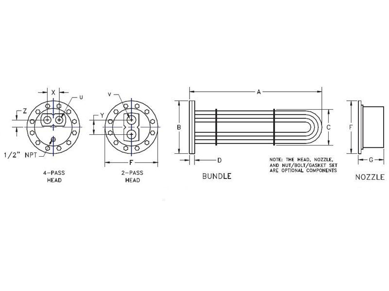 Picture of 6602-0080 , DOUBLE WALL U-TUBE TANK HEATER TUBE BUNDLES