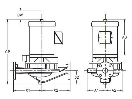Picture of 1.5x1.5x7-TV2g-1 , TV2G IN-LINE CENTRIFUGAL PUMPS - 1750 RPM