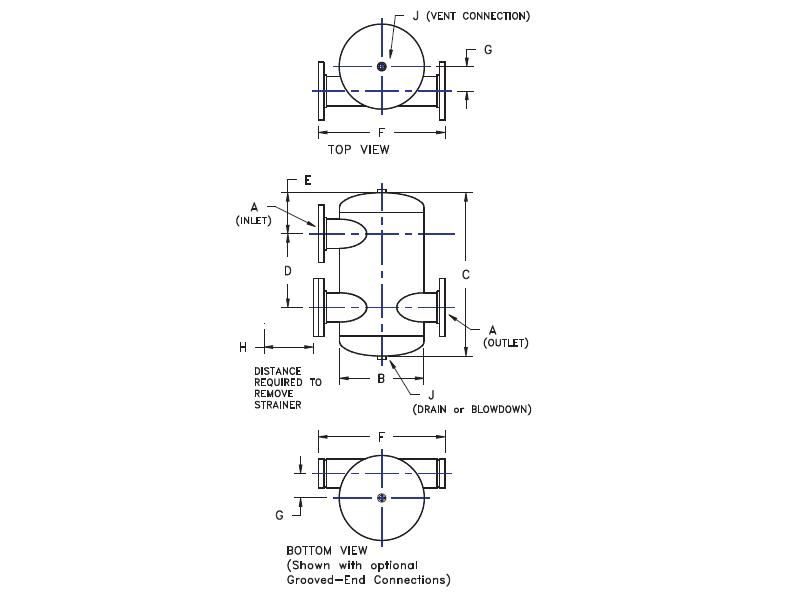 """Picture of 480-04 , TANGENTIAL AIR SEPARATORS - ASME WITH STRAINER - """"U"""" STAMP"""