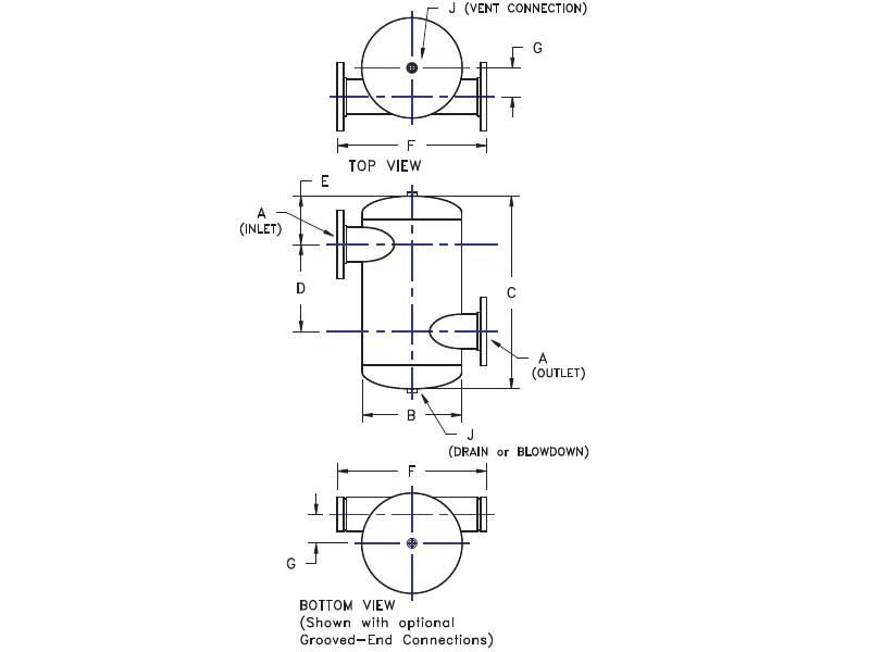 """Picture of 481-15 , TANGENTIAL AIR SEPARATORS - ASME WITHOUT STRAINER - """"U"""" STAMP"""