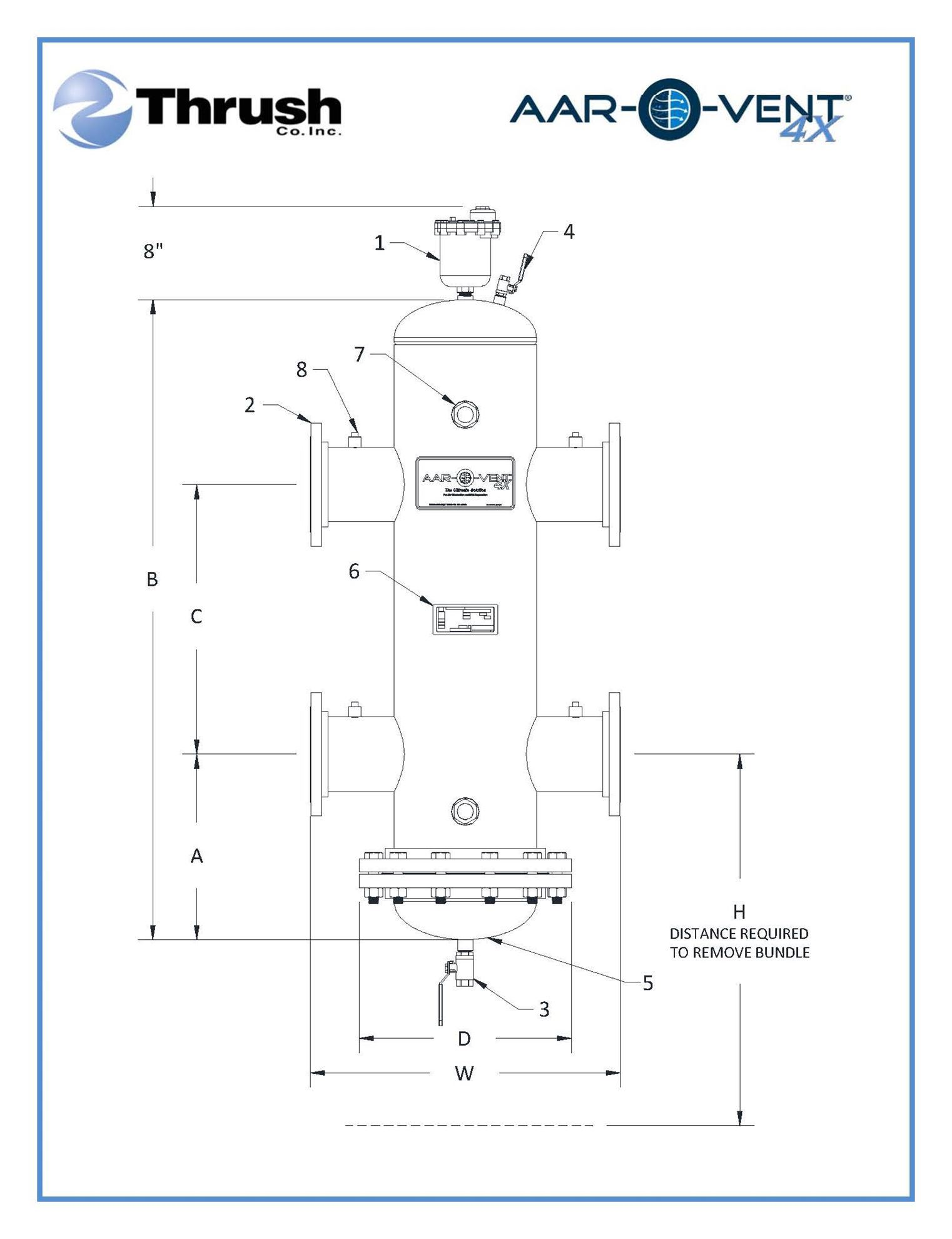 """Picture of T4SR-060-X , Aar-O-Vent™ - 6"""" HSR Series Hydraulic Separator, Standard Velocity, Removable Head Cover, Without Options"""