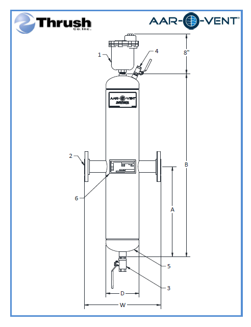 """Picture of TBHF-040-X, Aar-O-Vent™ - 4"""" HVF Series Air Eliminator & Dirt Separator, High Velocity, Fixed Head Cover, Without Options"""