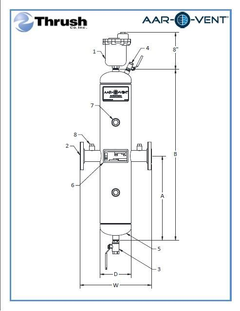 """Picture of TBHF-040-W, Aar-O-Vent™ - 4"""" HVF Series Air Eliminator & Dirt Separator, High Velocity, Fixed Head Cover, With Options"""