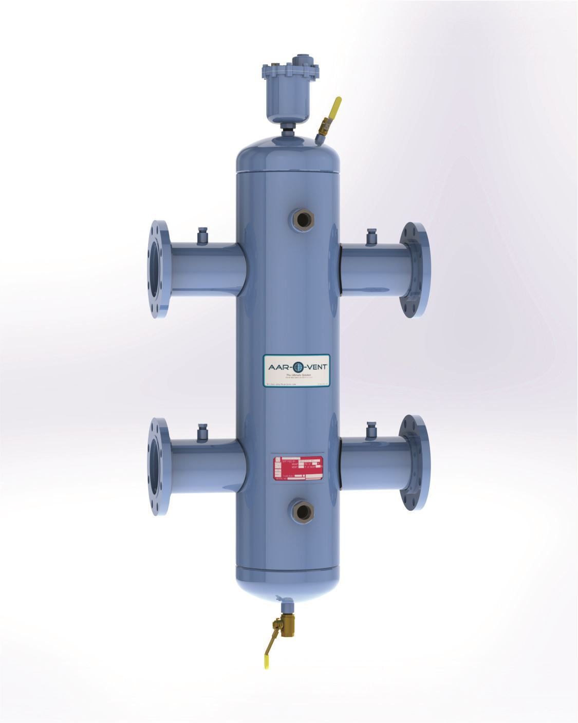 "Picture of T4SF-050-W , Aar-O-Vent™ - 5"" HSF Series Hydraulic Separator, Standard Velocity, Fixed Head Cover, With Options"